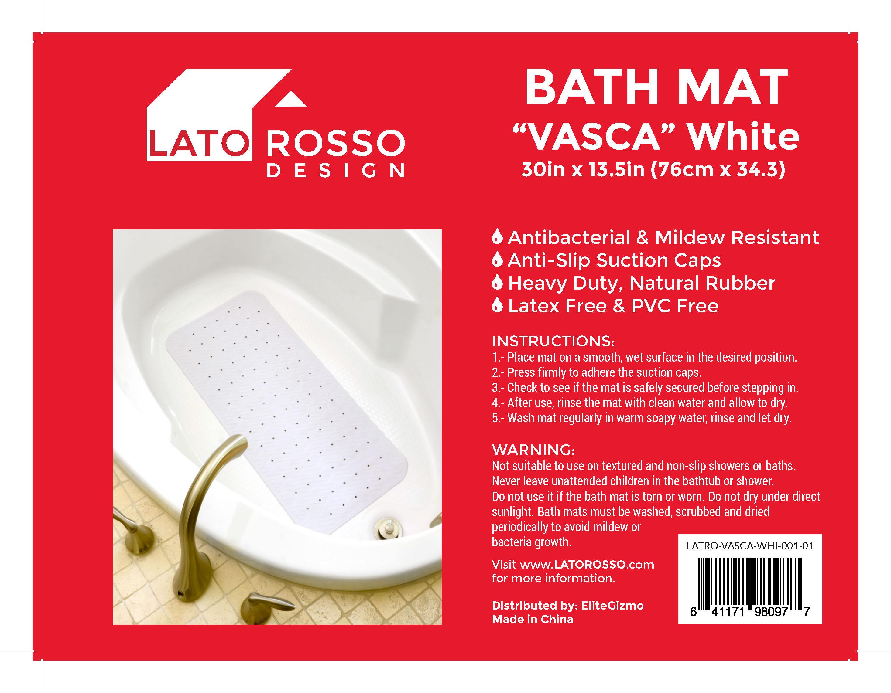 anti slip bath mat antibacterial mildew resistant top quality lato rosso bathtub mat vasca label